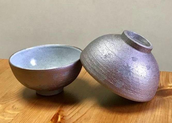 画像1: 京焼・清水焼 ご飯茶碗 黒陶雲錦 (こくとううんきん) (1)
