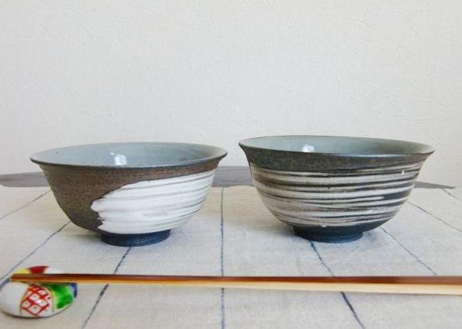 画像1: 清水焼 ご飯茶碗 刷毛目 (はけめ) (1)