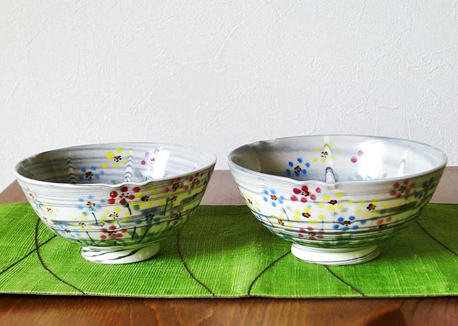 画像1: 京焼・清水焼 ご飯茶碗 練込友禅菊 (ねりこみゆうぜんぎく) (1)