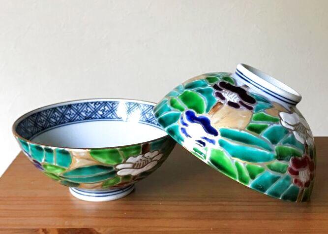 画像1: 京焼・清水焼 ご飯茶碗 花椿 (はなつばき) (1)
