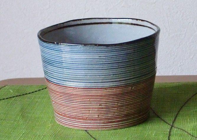 画像1: 清水焼 カップ 独楽筋 (こますじ) (1)