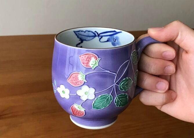 画像1: 京焼・清水焼 マグ 紫交趾いちご (むらさきこうちいちご) (1)