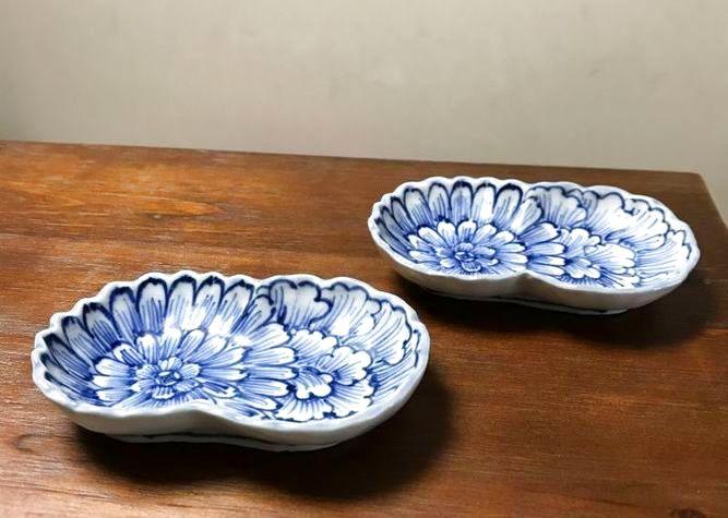画像1: 清水焼 小皿 古染付双花(こそめつけそうか) (1)