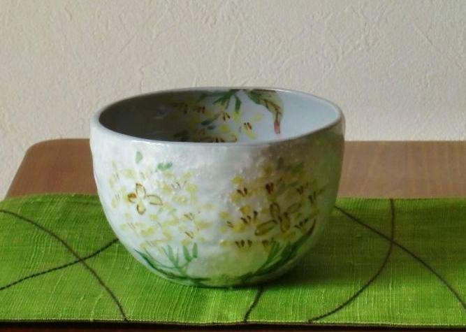 画像1: 清水焼 いっぷく碗 4月 菜の花(なのはな) (1)
