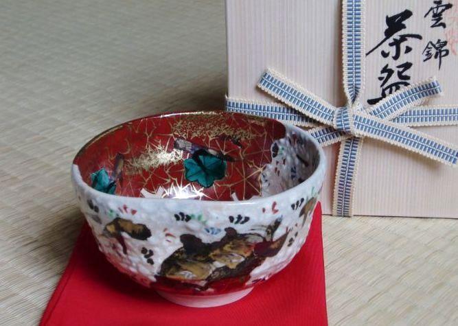 清水焼 京焼・清水焼 抹茶碗<br> 乾山雲錦