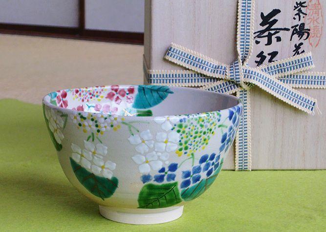 清水焼 京焼・清水焼 抹茶碗<br> 紫陽花