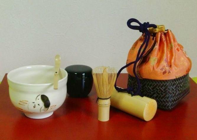 清水焼 京焼・清水焼 抹茶碗<br>  野点籠セット