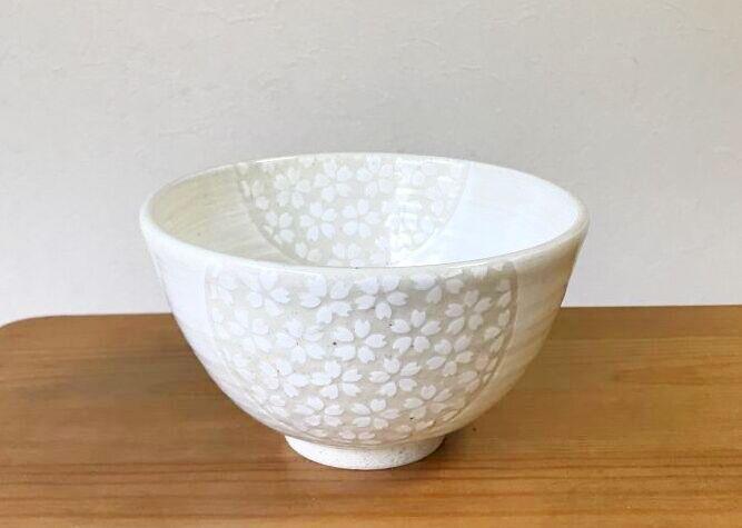 清水焼 京焼・清水焼 抹茶碗<br> 白地桜