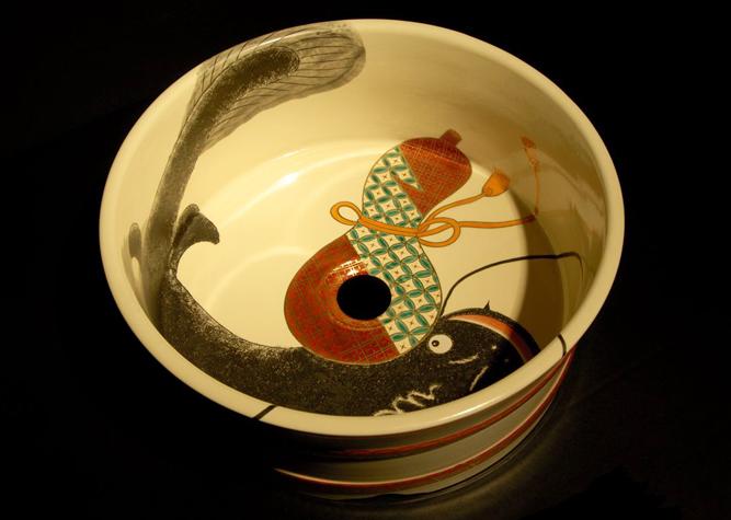 清水焼 洗面器 桶型ひょうたんなまず