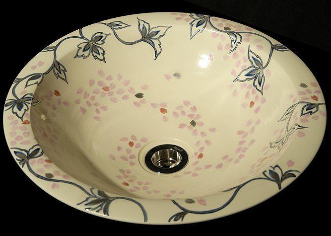 清水焼 洗面器 桜銀彩