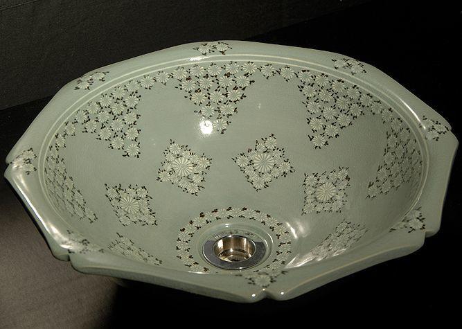 清水焼 京焼・清水焼 洗面器・手洗器 <br> 青磁象嵌