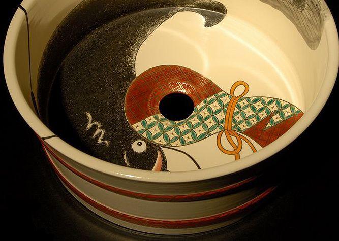 清水焼 洗面器 桶型 瓢箪なまず