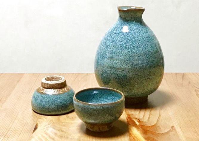 画像1: 京焼・清水焼 酒器セット 緑釉 (りょくゆう) (1)