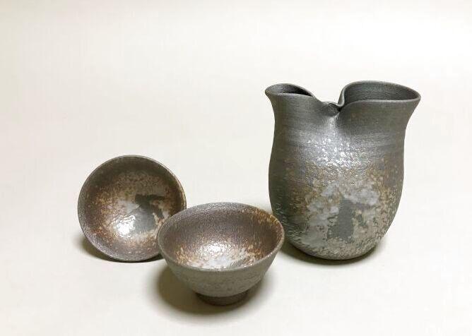 清水焼 京焼・清水焼 酒器セット<br> 黒陶うさぎ