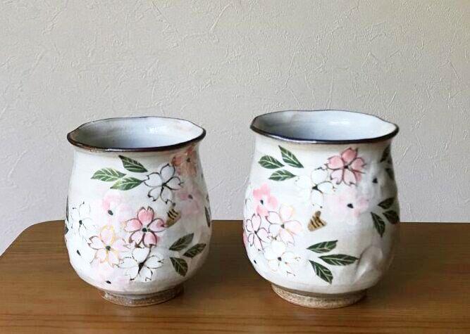 画像1: 京焼・清水焼 湯呑 着彩桜(ちゃくさいさくら) (1)
